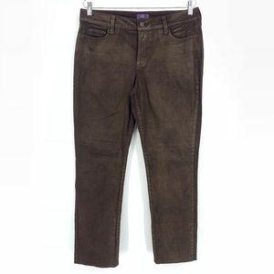 NYDJ Brown Metallic Skinny Jeans